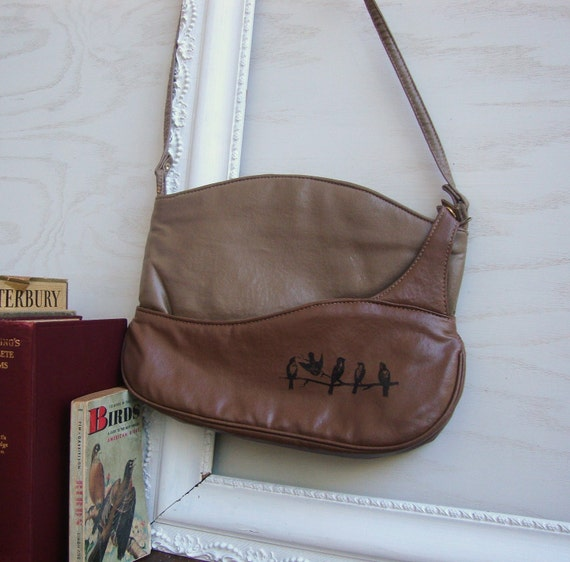 Vintage 2 in 1 brown faux leather purse with hand printed birds and dead tree