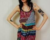 vintage batik floral summer mini dress