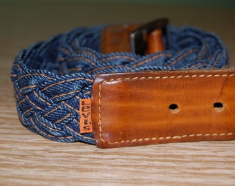 vintage 70's Levi WOVEN denim and leather belt