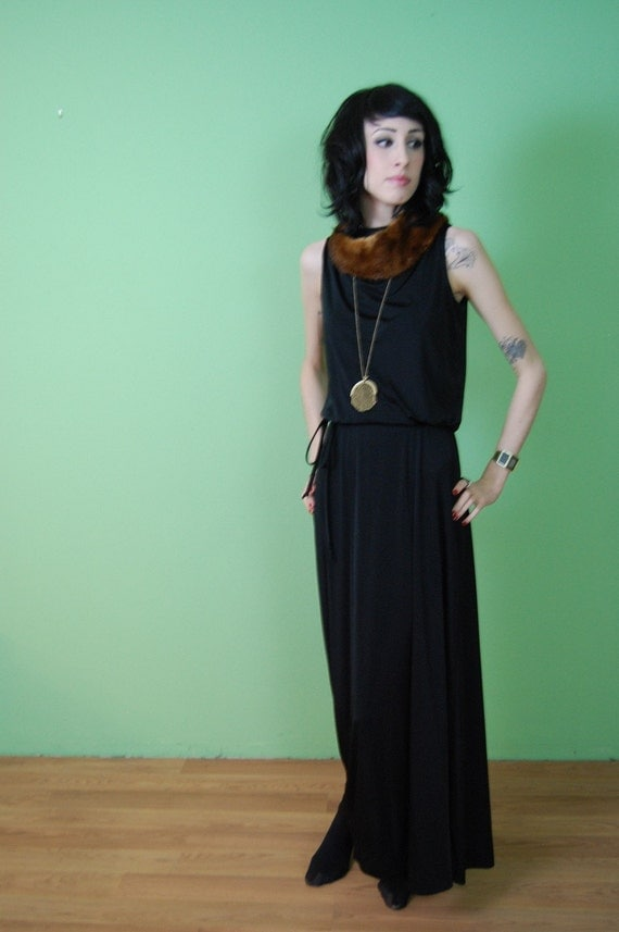 Vintage 70s Long Black Disco Party Dress S M