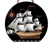 Full Mast Old Sailing Vessel 2 1/4 inch Bottle Opener or Pocket Mirror or Keychain
