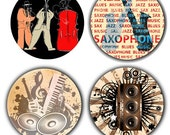 Jazz Music 1 Inch Pinback Buttons or Magnets or Flatback Medallion Charms