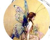 Art Deco Fairy With Beautiful Wings 2 1/4 Inch Pocket Mirror or Keychain or Bottle Opener or Magnet or Pinback Button