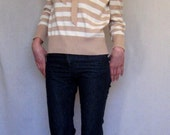 vintage tan and white stripe sweater with bow