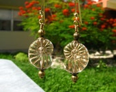 Reserved for Anita - Golden Etched Nautilus Ammonite Shell Glass Earrings