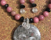 Huge Crinoid Fossil Jasper Pendant on Rhodonite Necklace and Earring Set