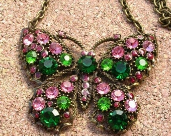 Pink and Green Rhinestone Butterfly Necklace with Brass Chain and Swarovski Crystal