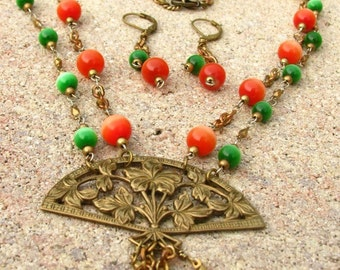Filigree Fan Necklace with Orange and Green Double Chain and Tassle