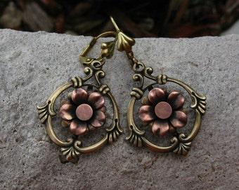 Fleur de Cute Copper and Brass Flower Earrings