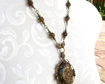 Filigree Pendant Necklace with Faux Smokey Quartz Jewel