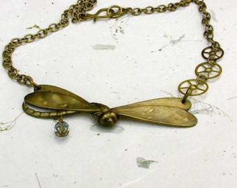 Tribute to the Dragonfly Steampunk Dragonfly Necklace