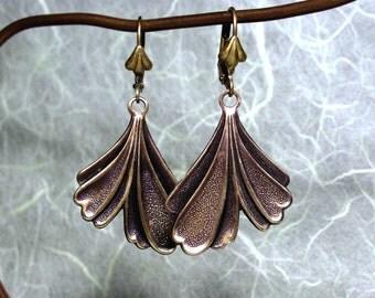 Ginkgo Leaf Earrings with Brass Ginkgo Leaf on Lever Back Style Ear Wires
