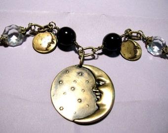 Brass Man in the Moon Charm Bracelet