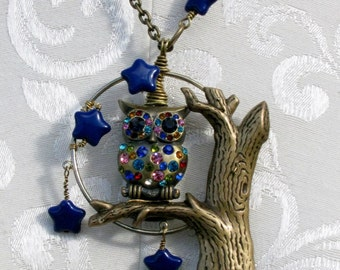 Rhinestone Owl Moon and Stars Brass Pendant Necklace
