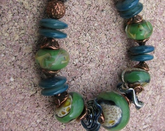 Green and Blue Lampwork Bracelet with Copper Accents and Mother of Pearl