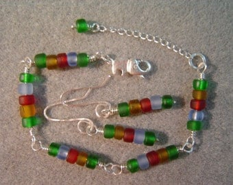 African Elephant Bracelet with Silver Elephant Clasp and Matching Earrings
