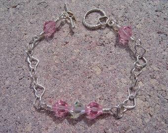 Silver Heart Bracelet With Pink Swarovski Crystal