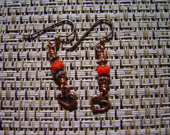 Copper Earrings with Cherry Tomato Red Picasso Beads and Copper Hearts