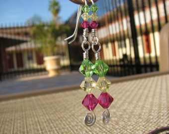 Long Earrings Fuchsia, Yellow and Green Swarovski Crystals on Silver Wire with Spirals