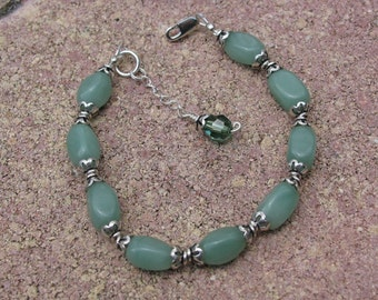 Aventurine and Bali Silver Bracelet with Erinite Swarovski Crystal and Sterling Assist Chain