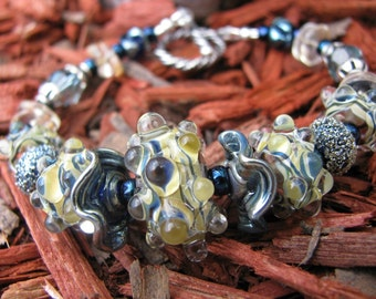 Yellow and Blue Lampwork Bracelet with Citrine and Montana Blue Swarovski Crystals