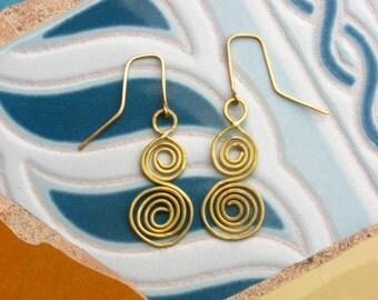 Golden Brassy Double Spiral Earrings