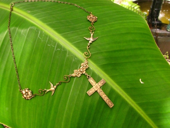 Mission San Juan Capistrano Cross Necklace Swallows and Flowers in Vintage Brass