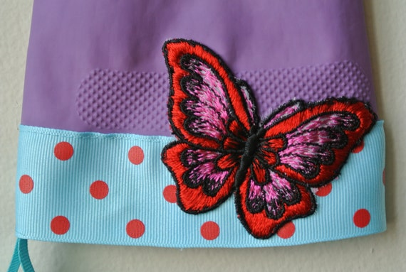 Designer Rubber Dish Gloves - Sky Blue with Red Polka Dots, Vintage Butterfly Applique - Medium/Large