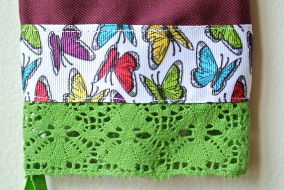 Designer Garden Gloves - As seen in Better Homes and Gardens DIY Magazine - Colorful Butterflies and Spring Green Lace - One Size