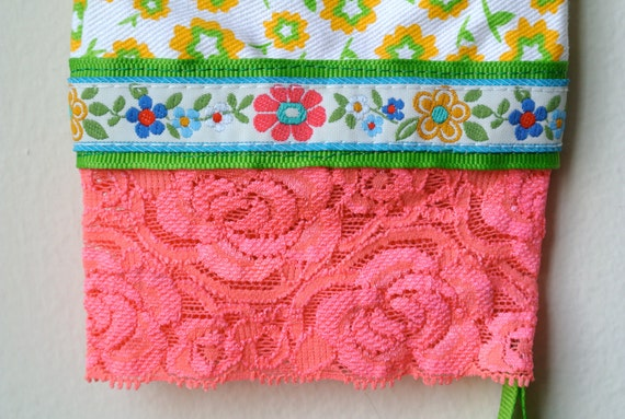 Designer Garden Gloves - As seen in Better Homes and Gardens DIY Magazine - Colorful Spring Flowers and Pink Lace - One Size