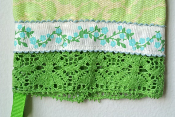 Designer Garden Gloves - As seen in Better Homes and Gardens DIY Magazine - Teal Spring Flowers and Green Lace - One Size
