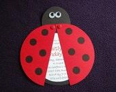 Ladybug invitation - qty 10