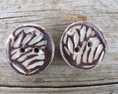 Set of Two Medium Inverse Brown Stamped Porcelain Buttons