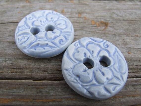 Two Large Light Blue Celadon Floral Porcelain Buttons