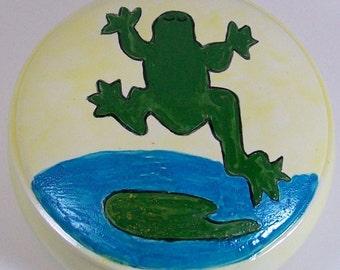 Handmade Ceramic Treasure Box / Trinket Box / Candy Dish / Ceramic Box with Lid / Frog Decor / Sugar Bowl / Prayer Box / Decorative Bowl
