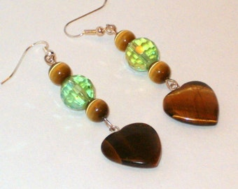 Dangle Earrings with Tiger's Eye Hearts and Beads - Handmade
