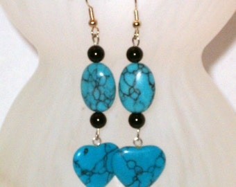 Dangle Earrings with Turquoise Hearts -Hand Crafted