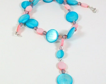 Blue Necklace | Shell Necklace | Y Necklace | Handmade Shell Necklace | Beaded Necklace