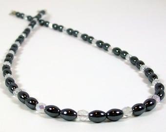 Hematite and Crystal Necklace | Hematite Jewelry | Handmade Hematite Necklace | Necklace with Semi Precious Stones