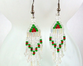Dangle Earrings / Beaded Earrings / Seed Bead Earrings / Green Earrings / Crystal Earrings / Christmas Earrings