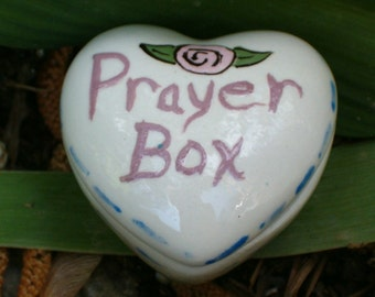 Handmade Ceramic Prayer Box / Keepsake Box / Heart Shaped Trinket Box / Treasure Box / Tooth Fairy Box