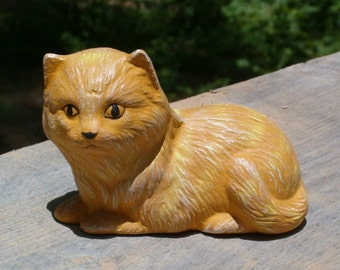 Cat Figurine |  Cat Statue | Yellow Cat | Lying Cat | Ceramic Cat | Animal Figurine | Animal Statue | Cat Figure | Handmade Ceramics