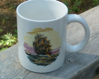 Ceramic Coffee Mug / White Mug with Ship / Coffee Cup / Unique Coffee Mug / Beverage Holder / Clipper Ship Mug / Boat Mug