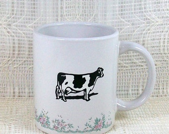 Handmade Ceramic Mug / Cow Mug / Coffee Cup / Tea Cup / Ceramic Coffee Mug / Unique Mug / Cow Decor