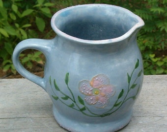 Blue Creamer With Flowers - Handmade Ceramic