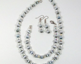 Jewelry Set | Cats Eye Jewelry | Handmade Beaded Jewelry | 18 Inch Necklace | Beaded Bracelet | Beaded Dangle Earrings | Gray Jewelry