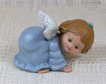 Handmade Ceramic Angel Figurine / Angel Statue / Cute Angel / Christian Home Decor / Angel Decor /  Child Angel / Blue Angel