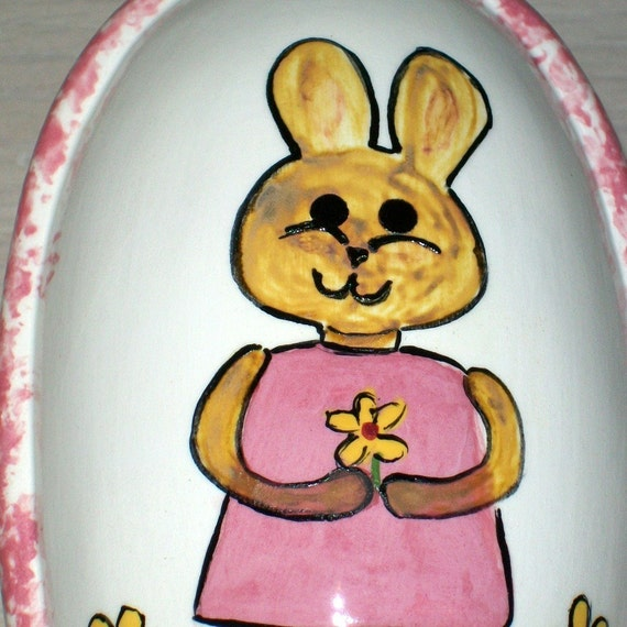 Handmade Ceramic Oval Covered  Box with Bunny