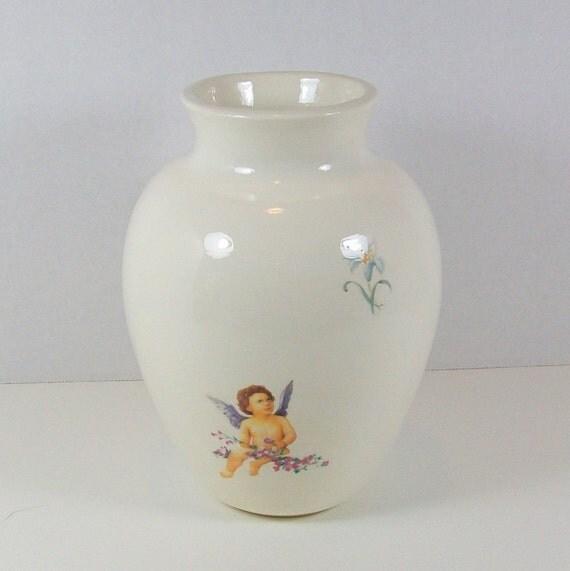 White Vase with Cherubs | White Ceramic Vase | Flower Vase | Vase | Wedding Vases | Religious Decor | Handmade Ceramic Vase