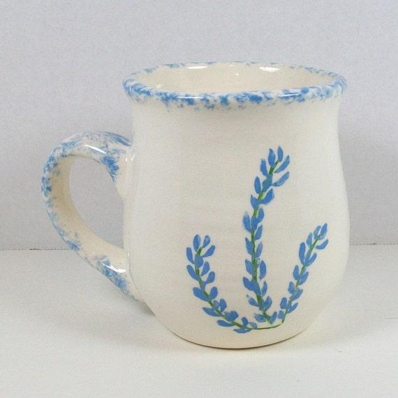 White Mug with Bluebonnets   Handmade Ceramic Coffee Mug   Ceramic Coffee Cup   Unique Coffee Mugs   Handmade Coffee Cup